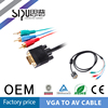 SIPU 6.0mm copper material vga to yellow rca male cable with gold connector