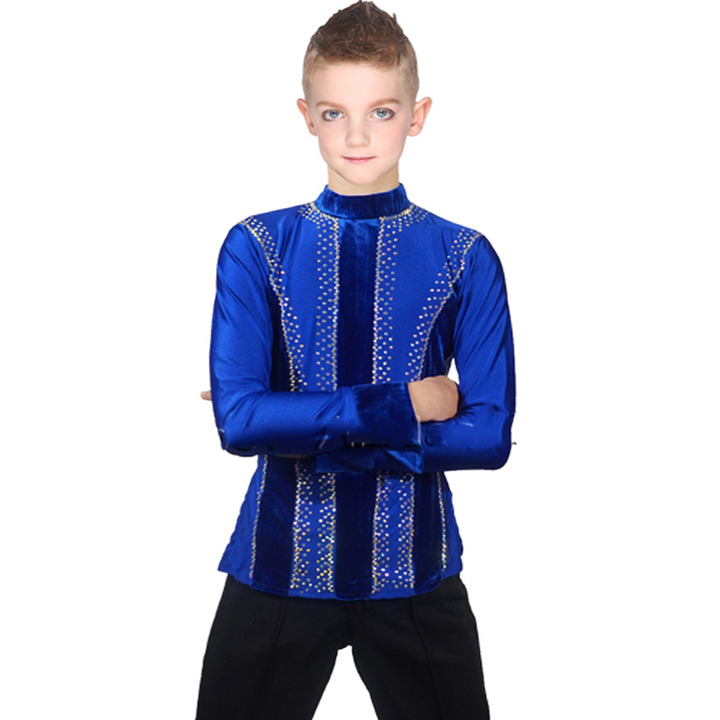 Alibaba.com / Ballroom Latin Dance Shirts Men Boys Velvet Clothes For Salsa Samba Kids Performance Clothing Competition Latin Dance Top DN1581