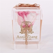 2019 clear petite rose acryl box 10 cm groothandel geconserveerde rozen in acryl box