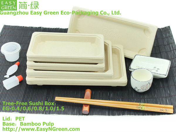 Bamboo Sushi Tray With Anti-fog Lid / biodegradable tray / biodegradable container