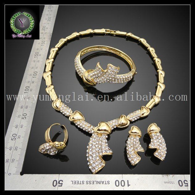 Queen Luxury 24k Gold Plated bridal jewelry sets FHK1414