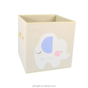 high quality folding cute animals canvas storage box organizer for kids clothing toys storage