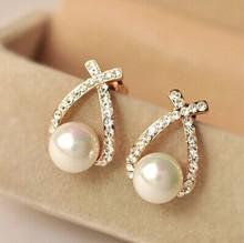 Elegantné dámske náušnice s perlou a kamienkami z Aliexpress