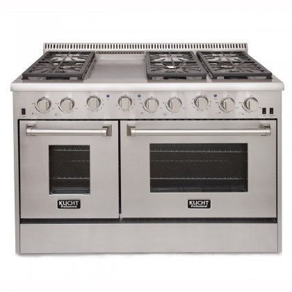 """Kucht KRG4804U 48"""" Freestanding Gas Range with 4.2 cu. ft. Convection oven and 2.5 cu. ft. Secondary Oven 6 Burners Griddle Blue Porcelain Interior and Cast-Iron Grates in Stainless"""