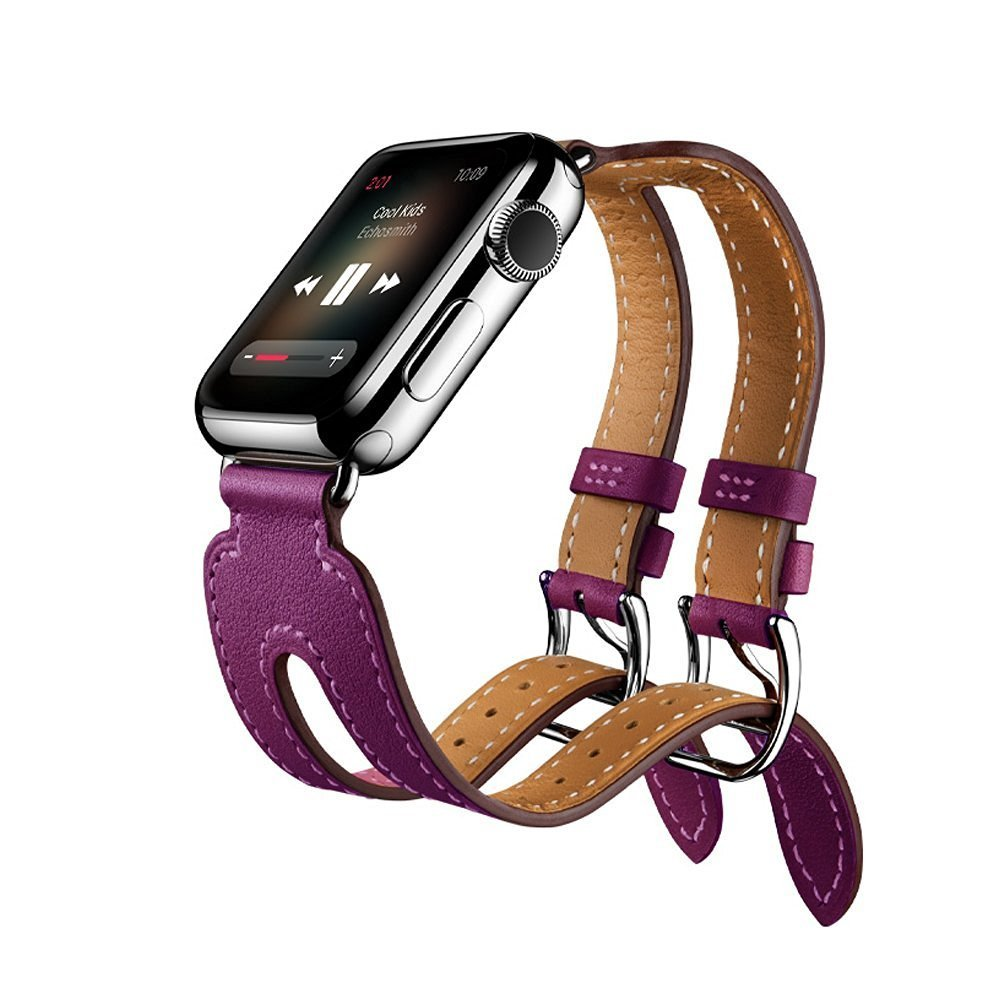 Apple Watch Double Buckle Cuff Band - Mr.Pro 42mm Premium Leather Cuff Wristband Strap with Classic Metal Double Buckle, Genuine Leather Wrist Watch Band for Apple iWatch Series 1 & 2 (42mm Purple)