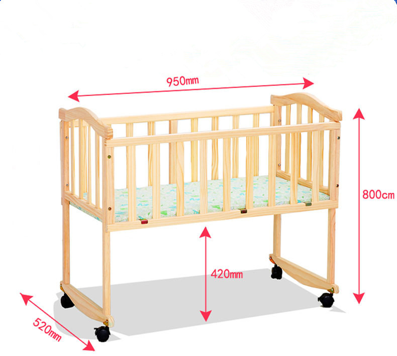 Simple style cheap price wooden material bed baby cot/portable solid wood baby cradle bed cot