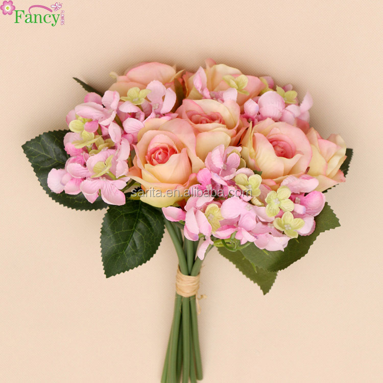 specialized silk rose bouquet wedding small flower rose petals party decoration
