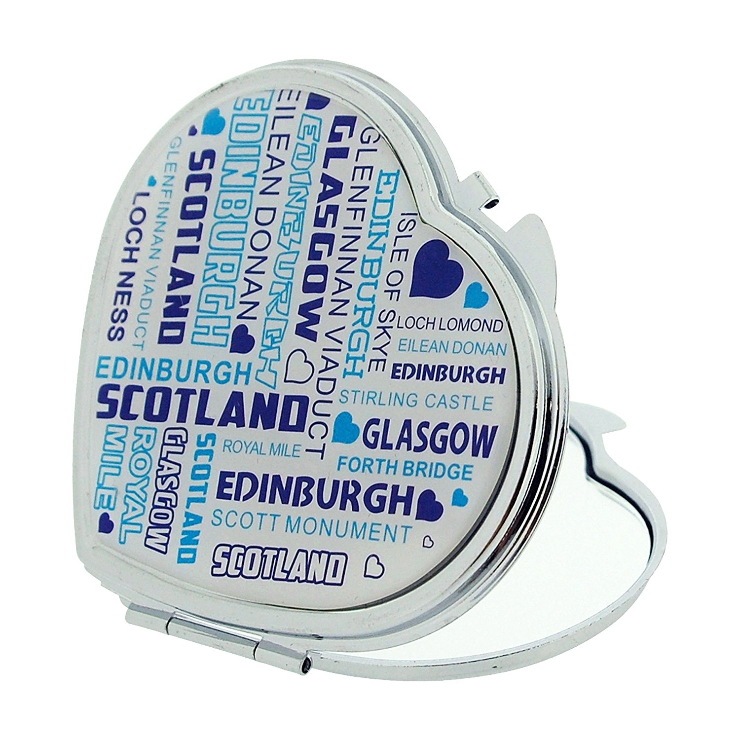 Scotland Tourist Streets Attraction Compact Heart Shape Mirror SC1387