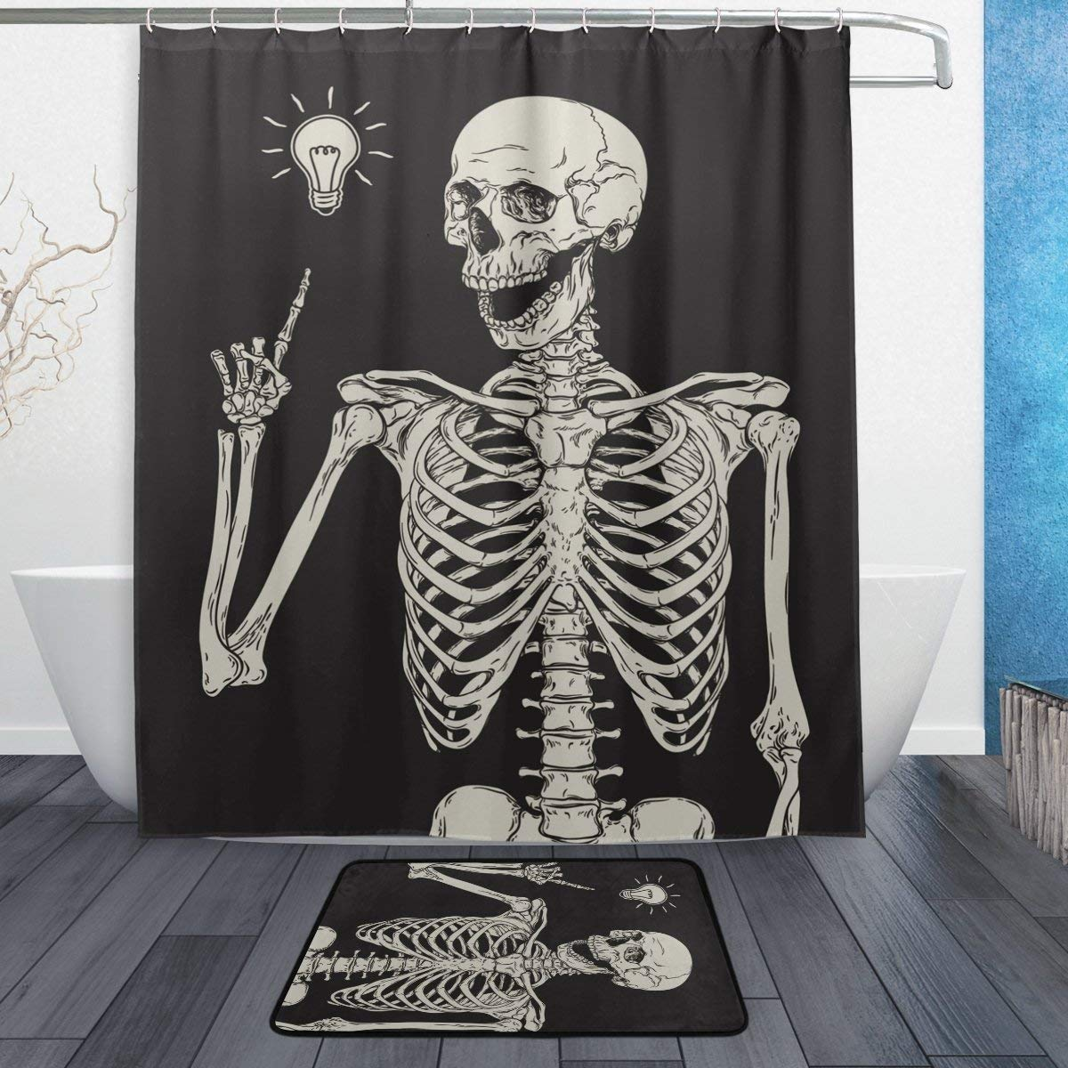 Get Quotations ALAZA Set Of 2 Funny Human Skull 60 X 72 Inches Shower Curtain And Mat