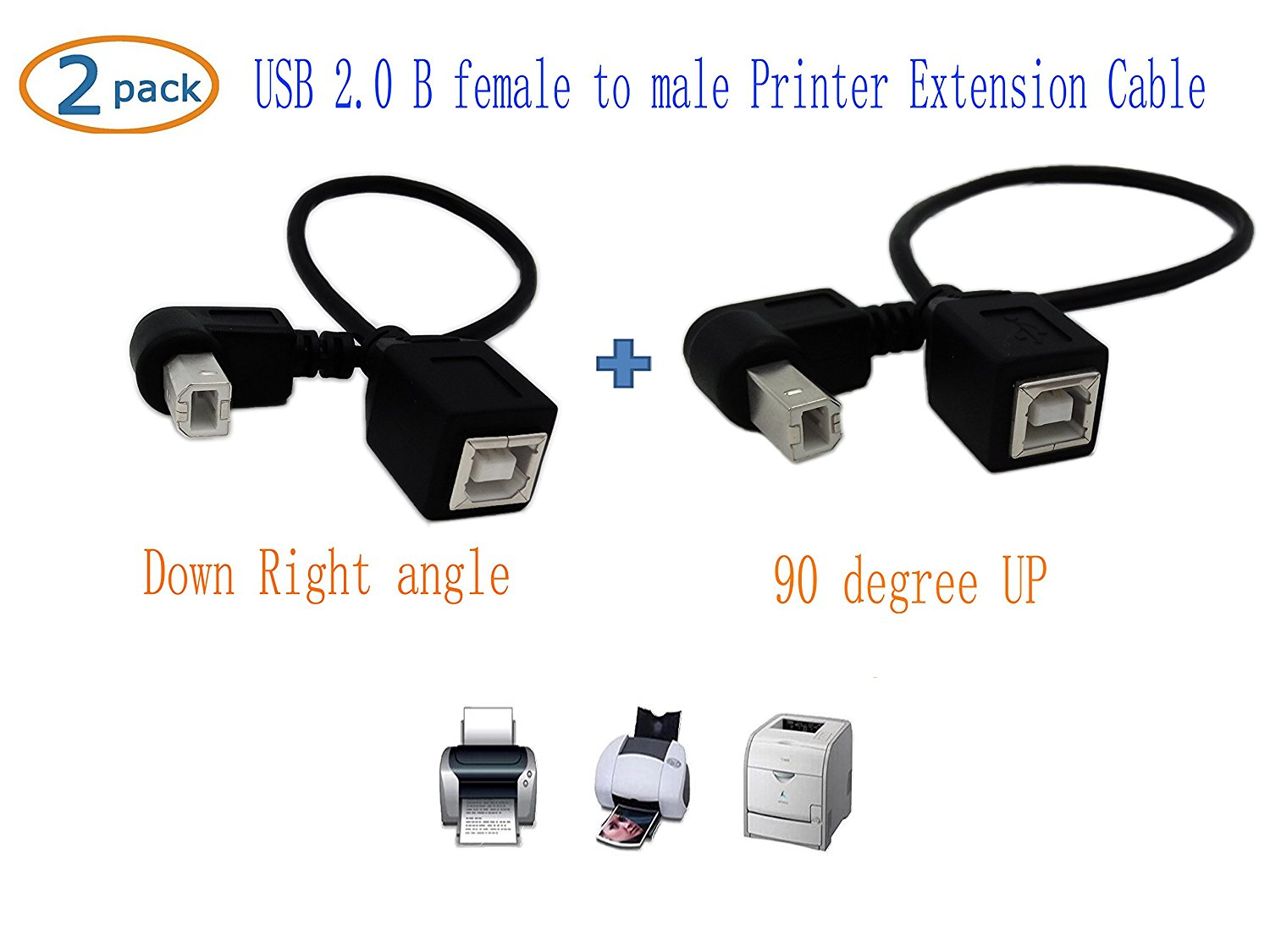USB 2.0 Type-B Printer Cable,SinLoon(2-PACK) USB 2.0 B female to Type-B male (90 degree UP + Down Right angle) Printer short Extension Cable for Printer, Scanner, Mobile HDD and More (UP-DOWN)