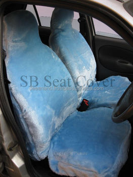 BABY BLUE FAUX FUR CAR SEAT COVERS