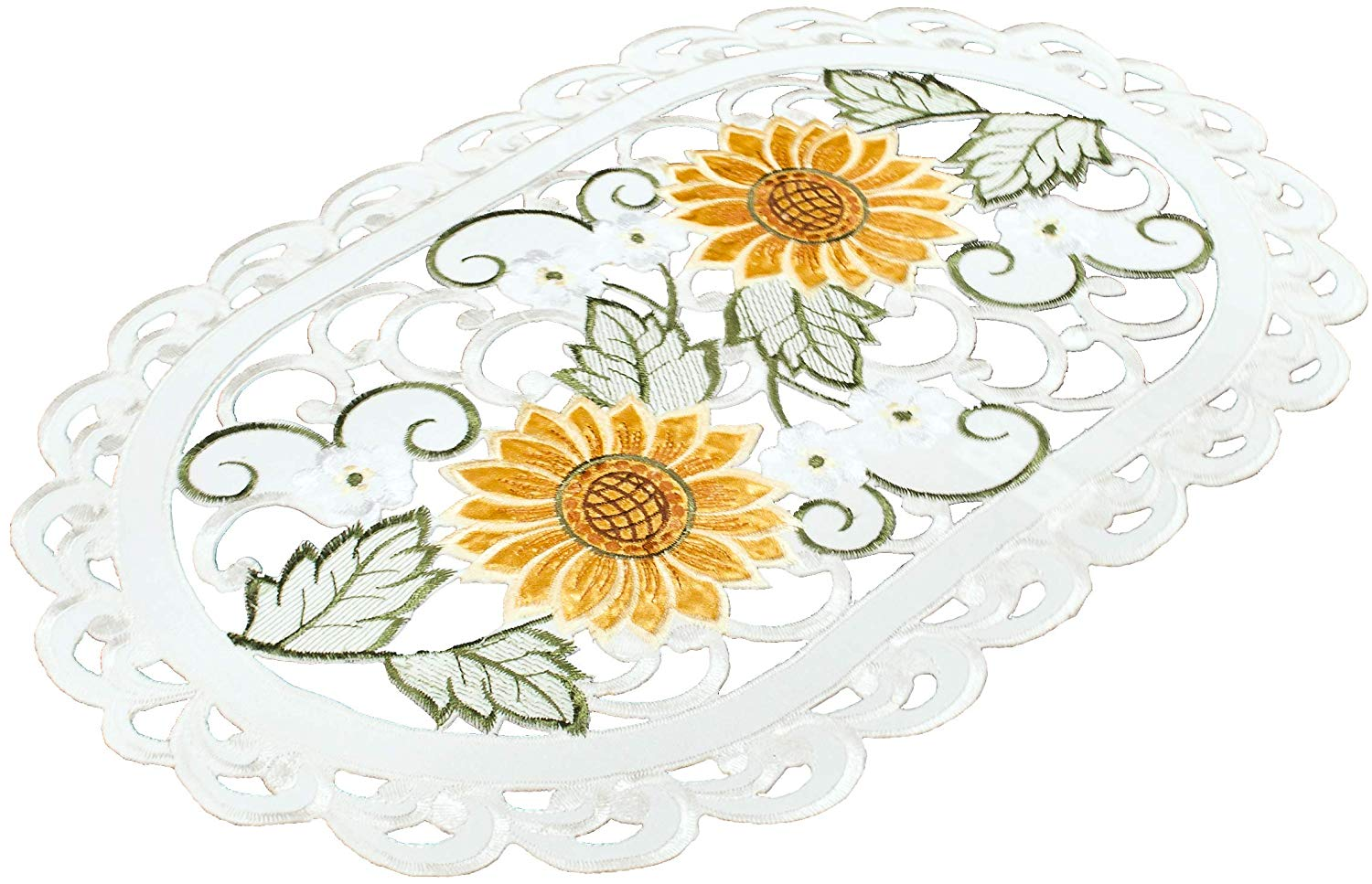 "Embroidered Place Mat Doily Coffee Table Scarf Open Weave Cut Work Sunflower and White Daisy on Ivory 12"" x 18"""
