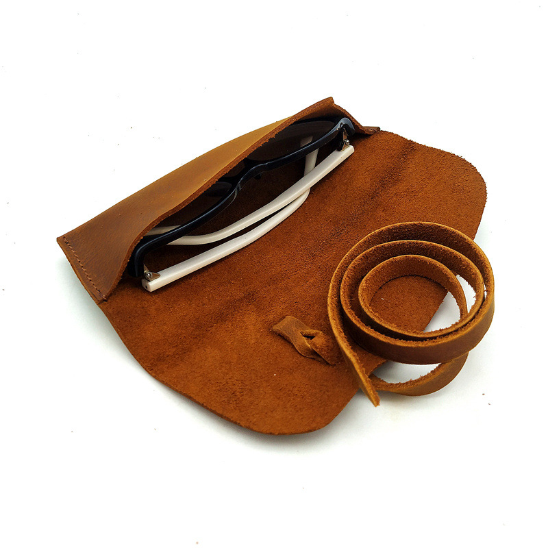 Factory customize 100% Genuine leather sunglass case Durable travel sunglass holder Factory customized Quality sunglass cover