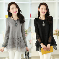 Round Neck Loose Long Sleeves Girl Chiffon Lace Mesh Blouses& Shirt