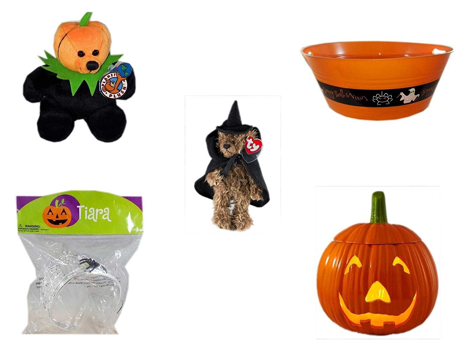"Halloween Fun Gift Bundle [5 piece] - Jacko The Halloween Beanie Bear Limited Edition Collectible 7"" - 17.75 Inch Orange ""Happy Halloween"" Party Tub - Ty Attic Treasures ""Esmerelda"" Witch Bear Plus"