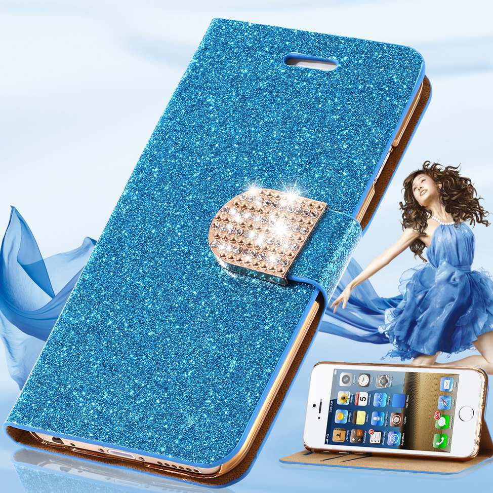 Luxury Glitter Crystal Diamond PU Leather Wallet Case For Apple iPhone 6  4.7 inch Bling Shiny Original Phone Back Cover Bag  885680900a