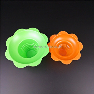 4oz 8oz cool color cone shaved ice cups flower plastic ice cream cup