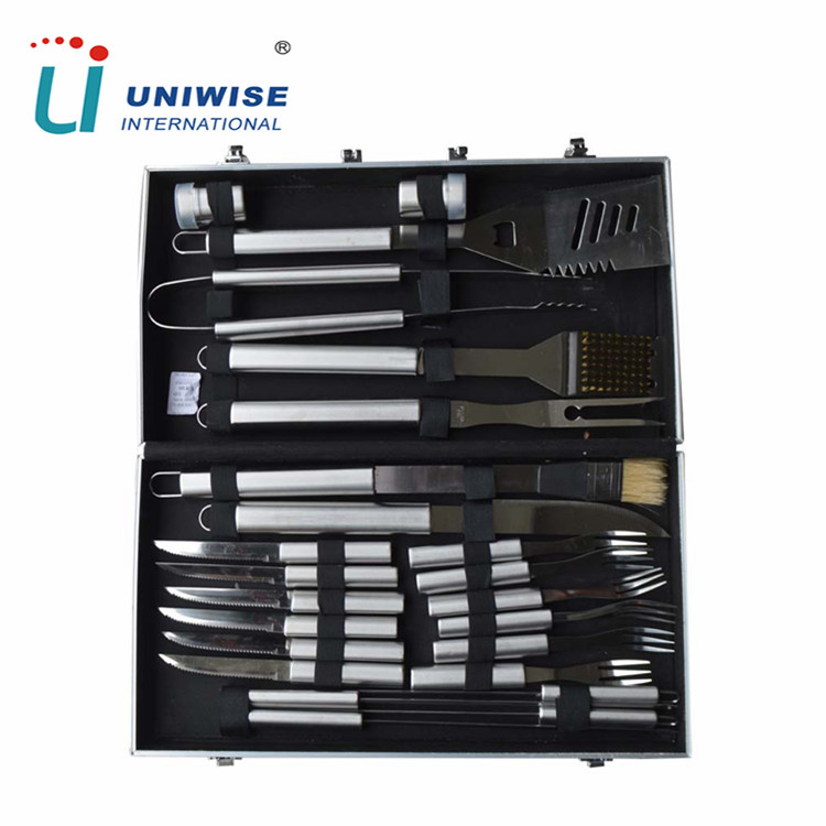 Outdoor Barbecue Using 24pcs Stainless Steel BBQ Grilling Tool Set