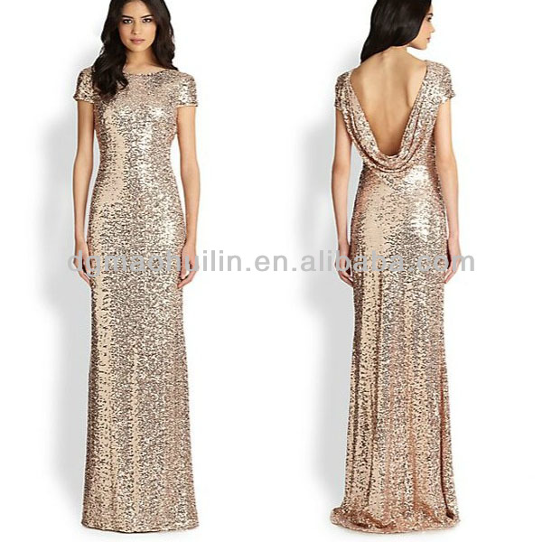 New Designer Long Sequin Cowl-back Gown Prom Dress Patterns - Buy ...