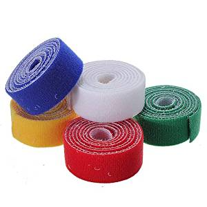 1m 25mm Durable Sticky Self Adhesive Velcro Tape Cable Tie (Random Color)
