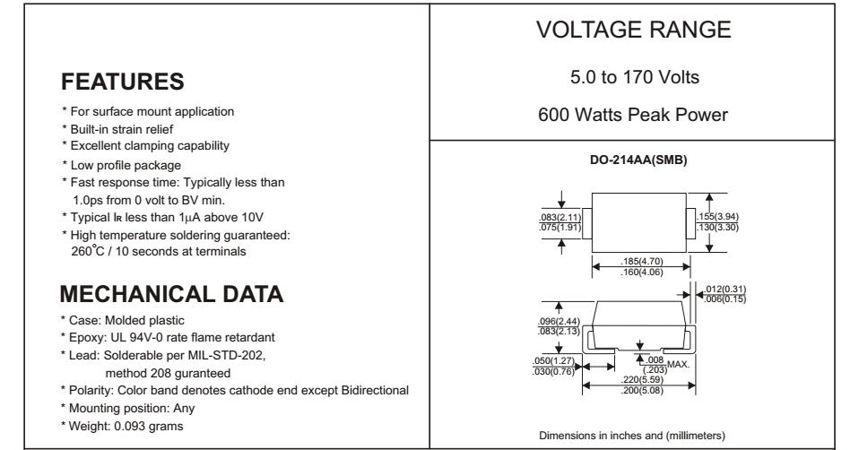 Transient Voltage Suppressors 5volts 600watts BiDirectional 5 pieces TVS Diodes