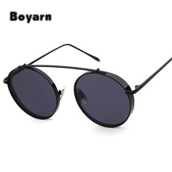 2d3f8be2a Vintage Women Steampunk Sunglasses Men Brand Design Round Anti-glare glasses  polar drive custom Sun