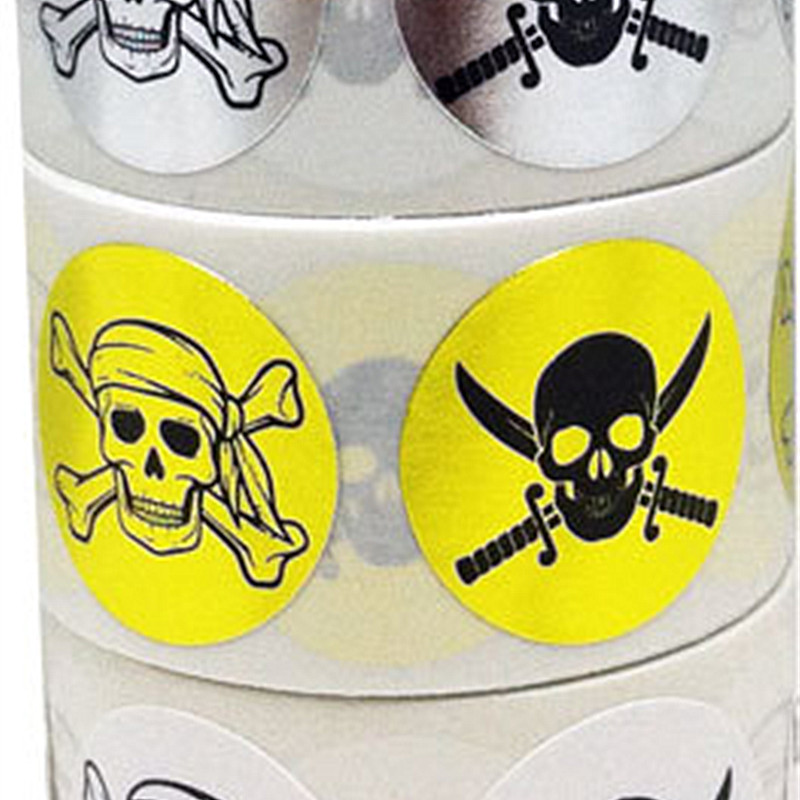 Wholesale Custom Metallic Paper Round Skull Adhesive Label Sticker With High Quality