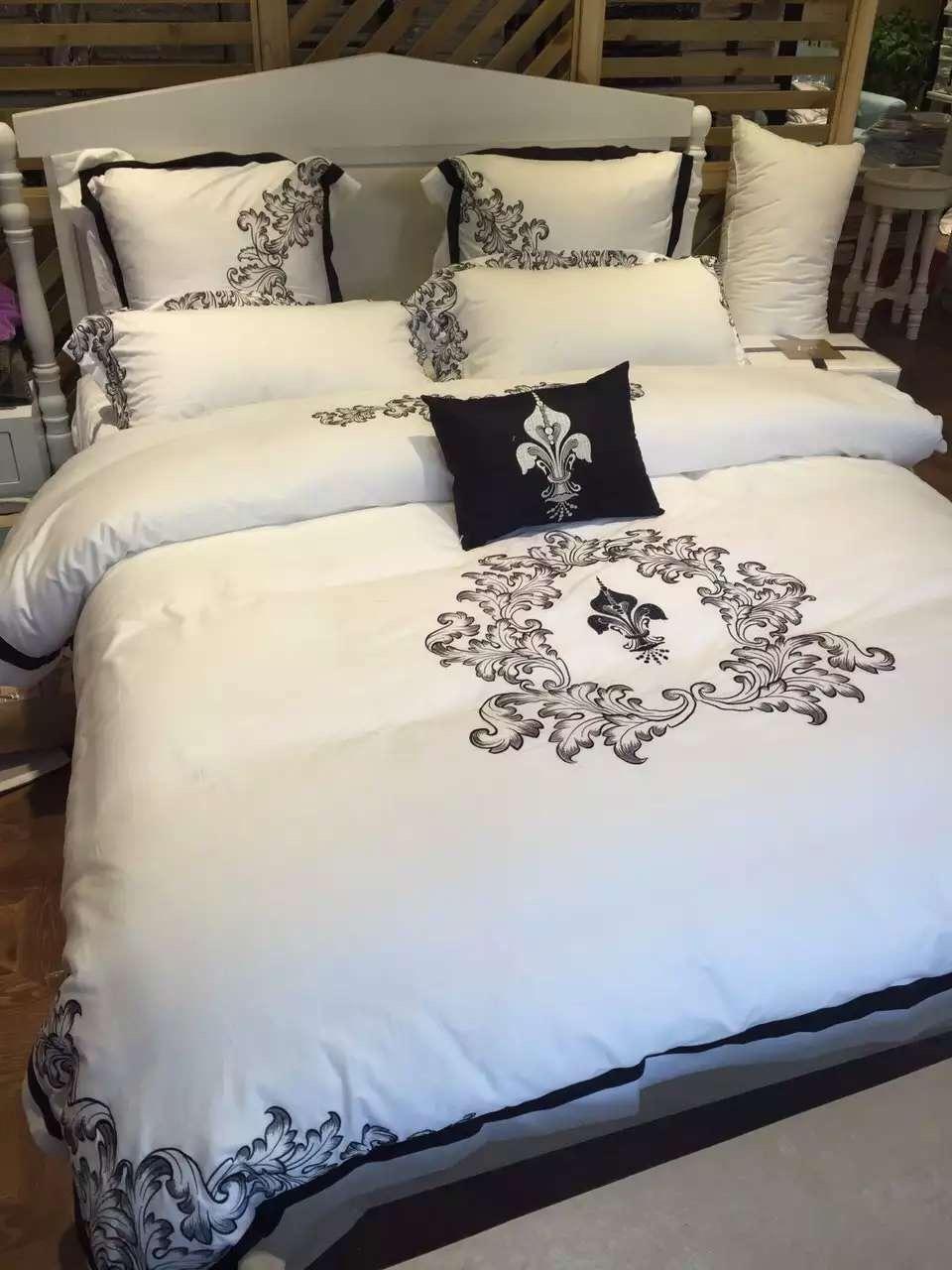 buy 4pcs 100 cotton bedsheets 5 star luxury hotel bedding set full size bed. Black Bedroom Furniture Sets. Home Design Ideas