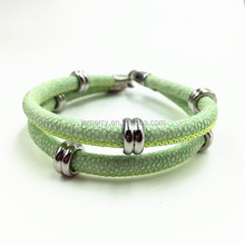 Fashionable Stainless Steel Beads Green Super Fiber Leather Charm Beads Stingray Bracelet 2016