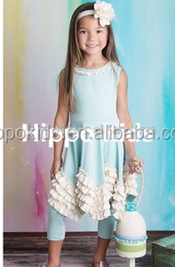 High quality baby blue ruffle dress with capris wholesale children's boutique clothing girls spring fashion outfits
