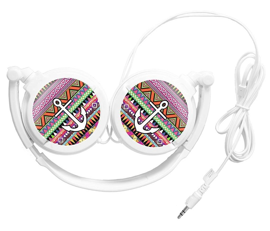 Colorful Mix Pattern Aztec Tribal With Anchor Custom Headset Bass Music Adjustable Headphones Stereo Earphone