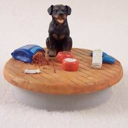 """Conversation Concepts Miniature Rottweiler Candle Topper Tiny One """"A Day at Home"""" (Set of 6)"""