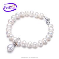silver plated freshwater pearl bracelet near round near round pearl jewelry bracelet