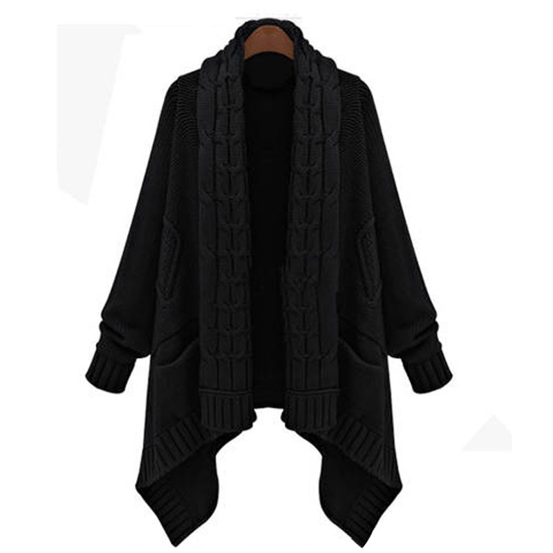 36e70ab3b191 Get Quotations · 2015 Autumn Winter Women Cardigan Sweater Asymmetric  Length Scarf Collar Long Cardigans Twisted Thick Loose Wool