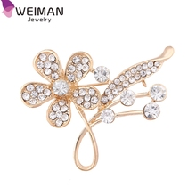 Pretty Fashion Beautiful Brooch Pins Alloy Design Crystal Rhinestone Flower Brooches for women Party