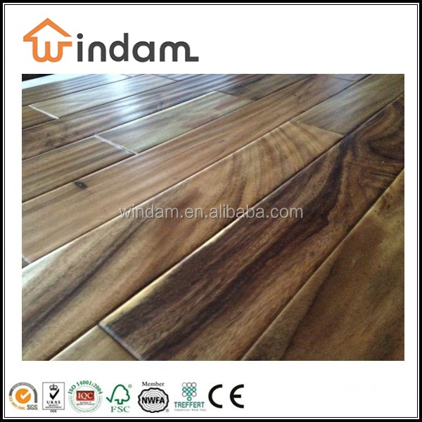 Handscraped surface natural color small leaf acacia timber flooring