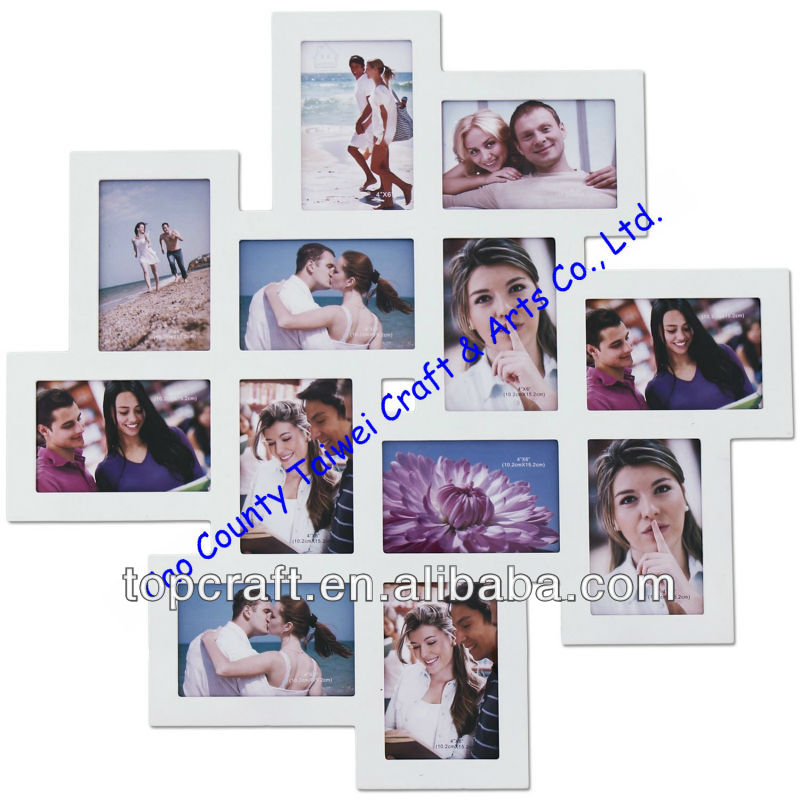 12-opening Wooden Wall White Collage Photo Picture Frame Wall Art ...