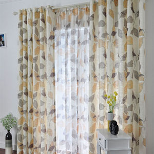 Customized Pure fresh cotton leaf design window curtain with sheer