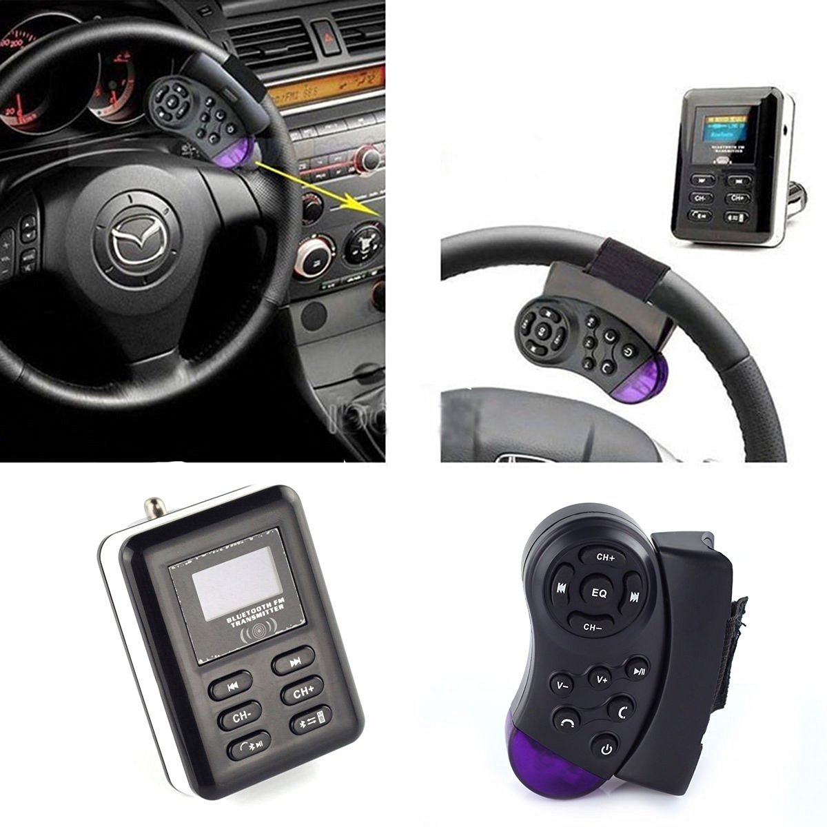 Modern New Arrival Car Kit MP3 Player Wireless Car FM Transmitter Modulator with Bluetooth Function USB SD LCD Steering Wheel Handsfree With Remote Control