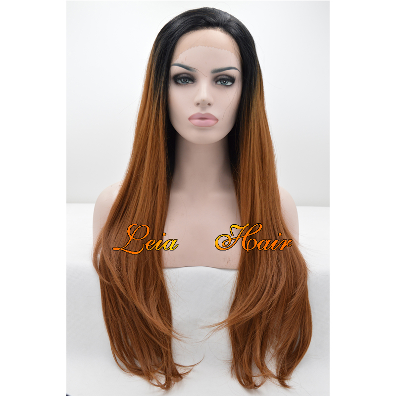 Ombre Brown Wig Synthetic Lace Front Straight Wig Heat Resistant Kanekalon Hair Glueless Black To Brown Ombre Cheap Wig For Sale