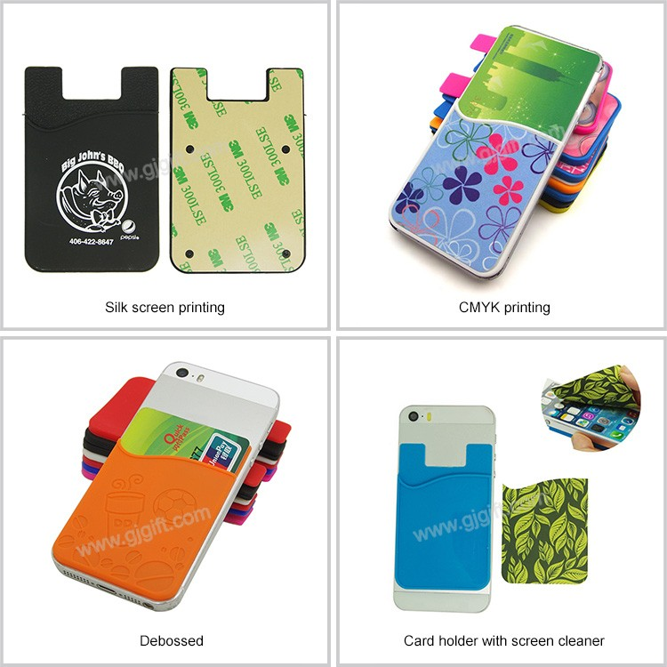 Most popular customized sticky silicone phone case card holder