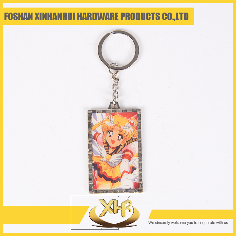 Nickel square shaped Custom keychain with picture Sailor Moon