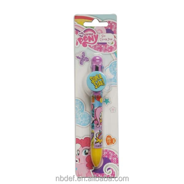 Custom plastic 6 color ink ball point pen 6 color in one pen