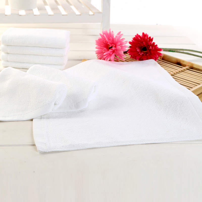 Top quality white color softest pure cotton customize print hand towel with factory price