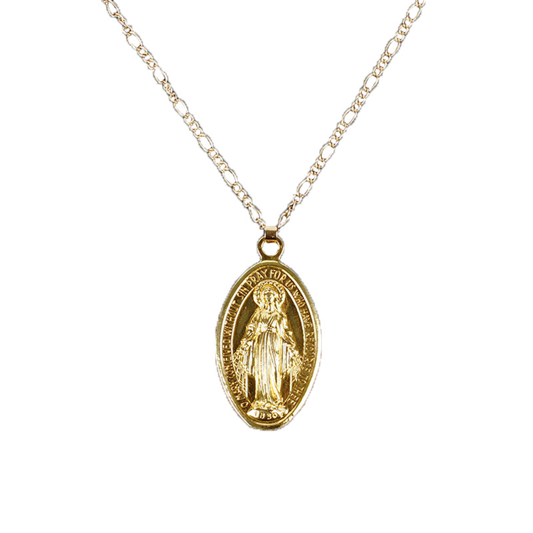 European Hotselling Religious Gold Plated Virgin Mary Necklace Catholic Christian Virgin Mary Pendant Necklace