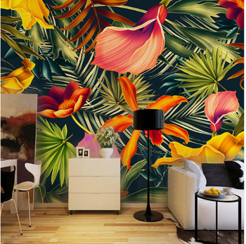 Korean Wallpaper Home Decor Tropical Rainforest Plant Hot Cartoon 3d