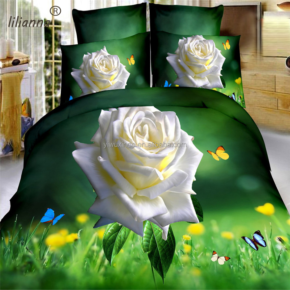 2016 dark green background rose and butterfly 3d bedding sets wholesale king size