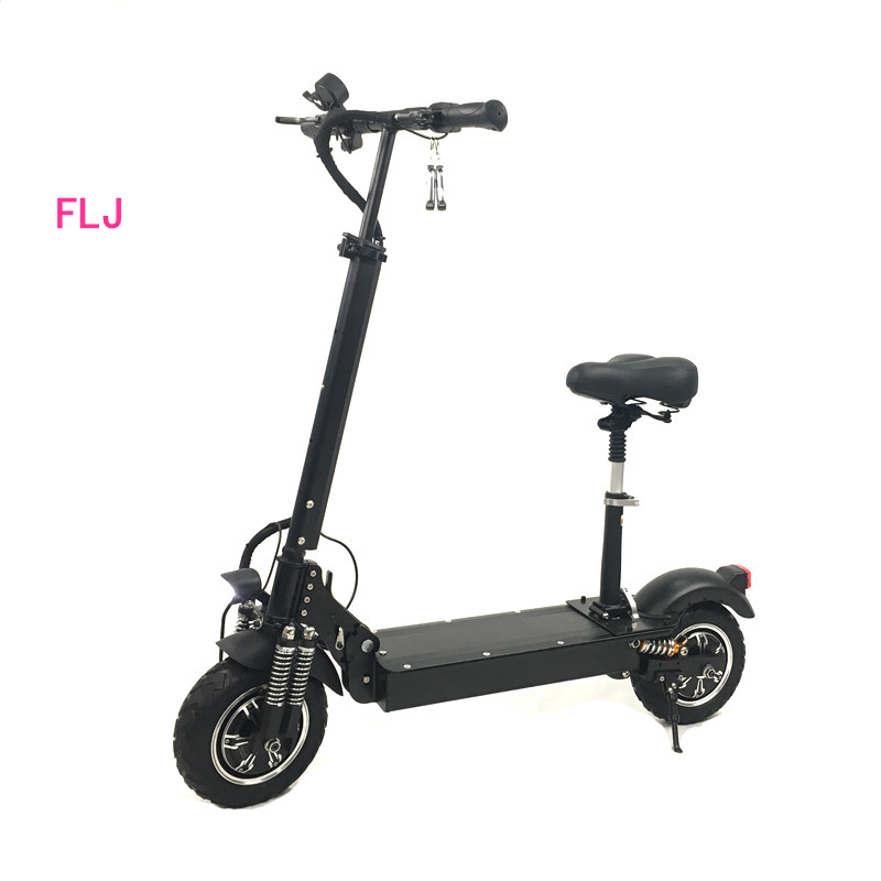 2018 new model electric scooter 2400W 1200w for adults 11inch Folding dual motor electric scooter with seat, Black