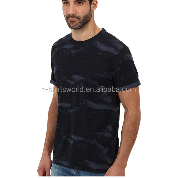 Stylish man basic military camouflage polyester t shirts in all over printing