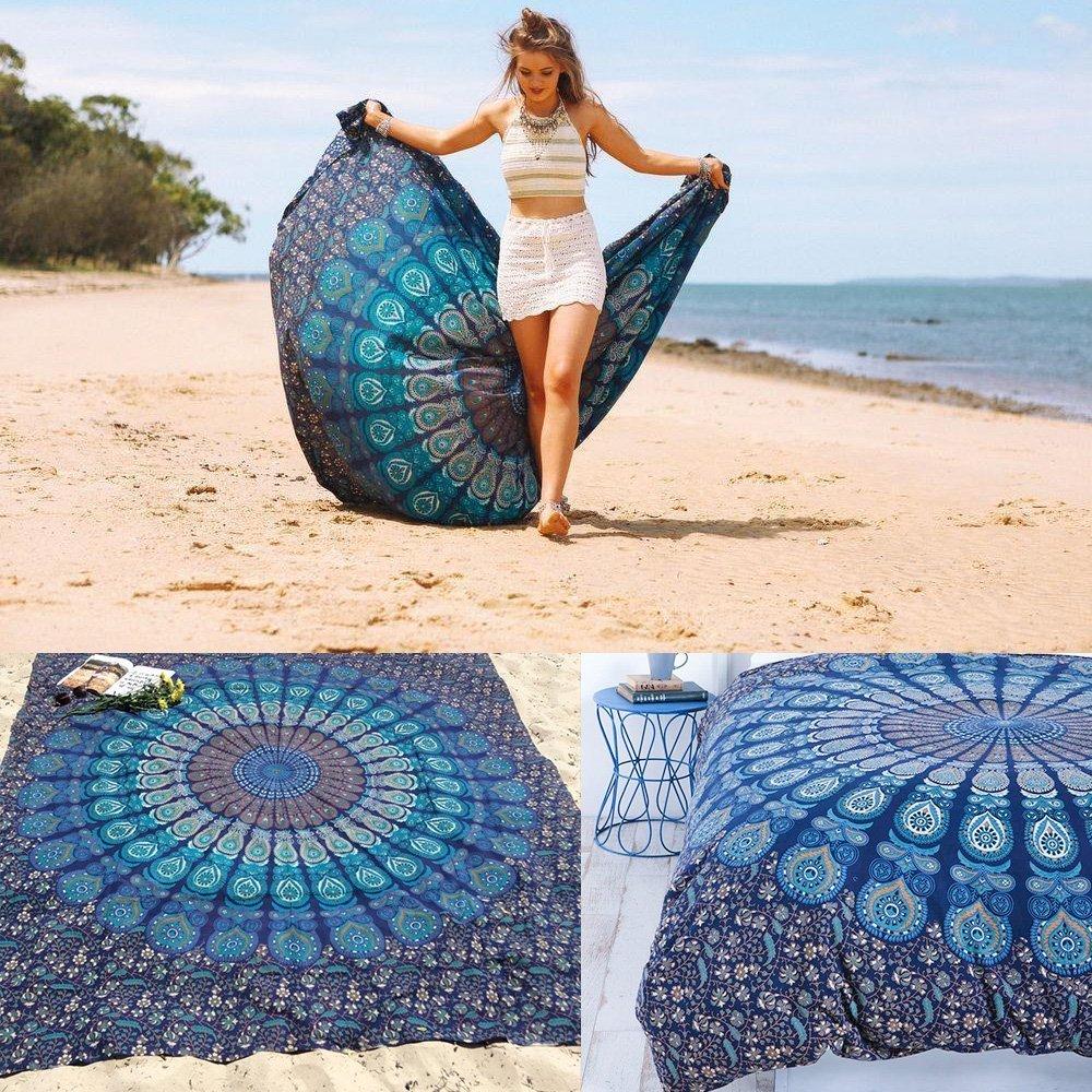 Beach Throw, Tsumbay Indian Mandala Beach Towel Wall Decor Hippie Tapestries Bohemian Mandala Beach Throw Tapestry Wall Hanging Throw, Yoga Mat, Picnic Mat, Table Throw - NavyBlue